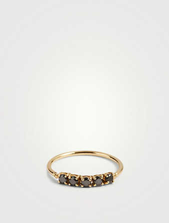 YI COLLECTION 18K Gold Flexi Ring With Black Diamonds Women's Metallic