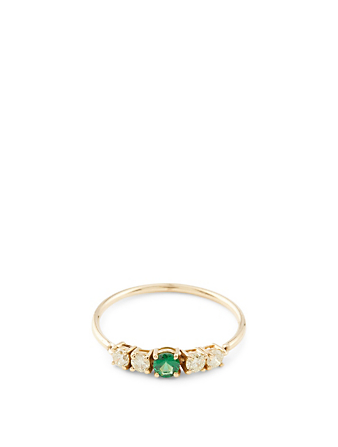 YI COLLECTION 18K Gold Flexi Ring With Tsavorite And Yellow Diamonds Women's Metallic