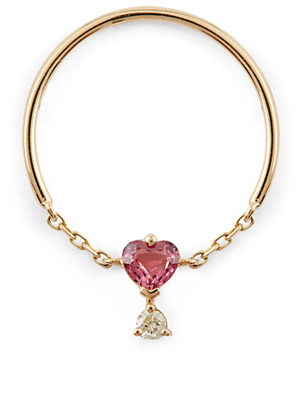 YI COLLECTION 18K Gold Half Chain Ring With Pink Spinel And Diamond Women's Metallic