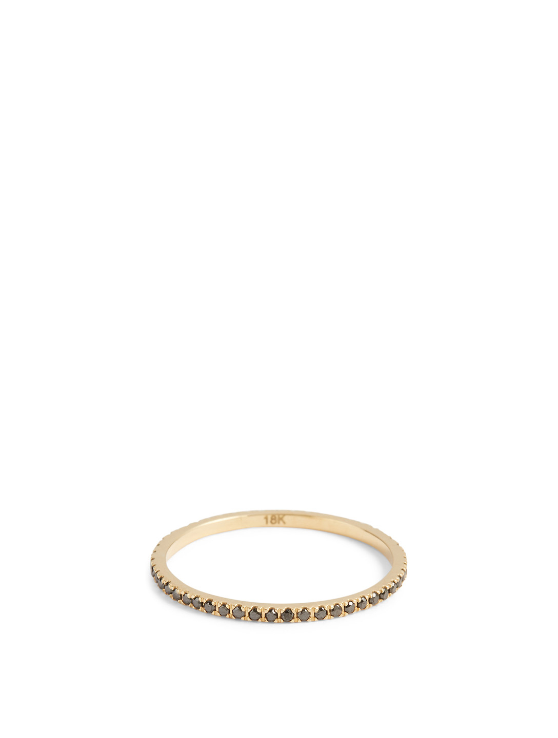 YI COLLECTION 18K Gold Infinite Ring With Black Diamonds Women's Metallic