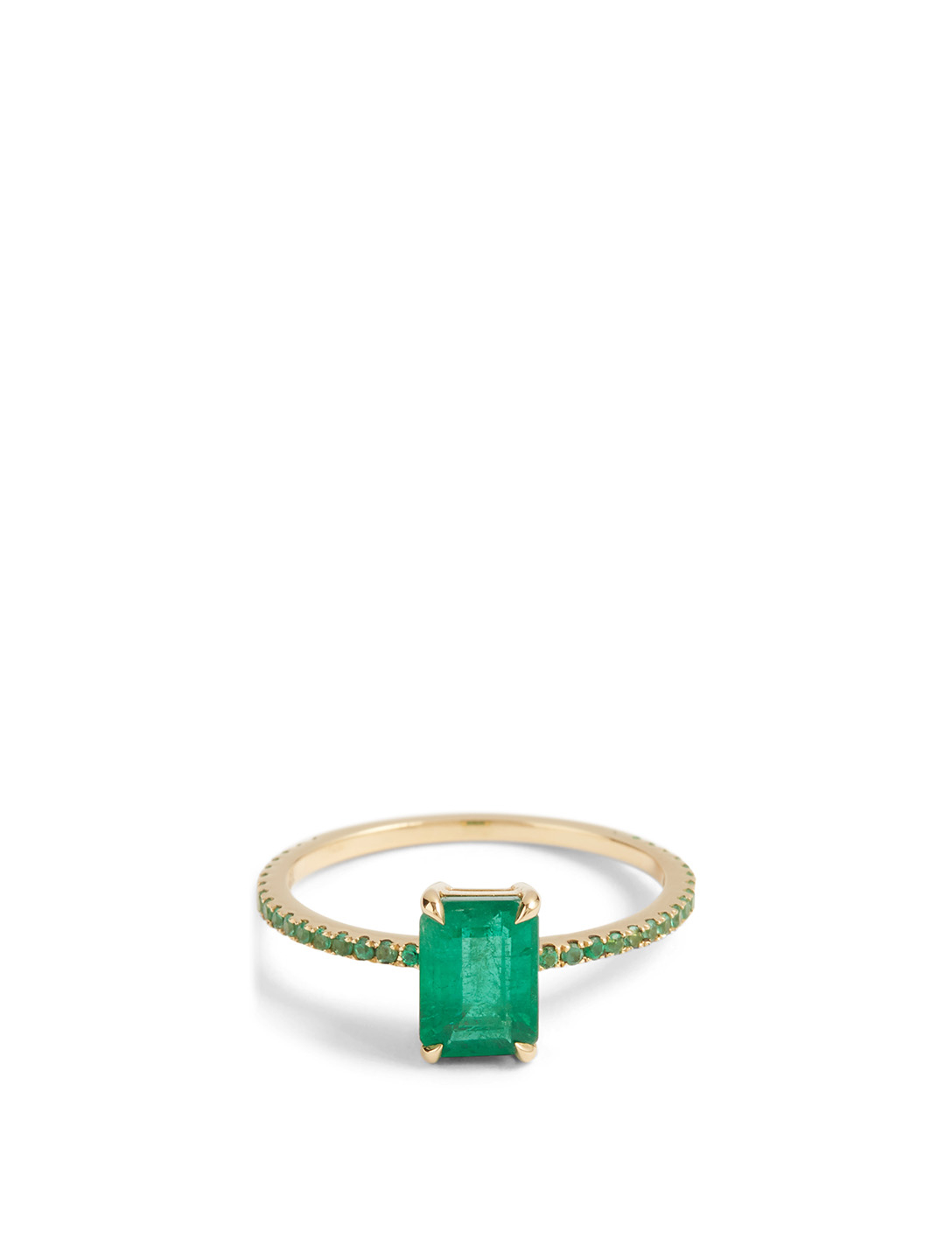 YI COLLECTION 18K Gold Ring With Emerald Women's Metallic