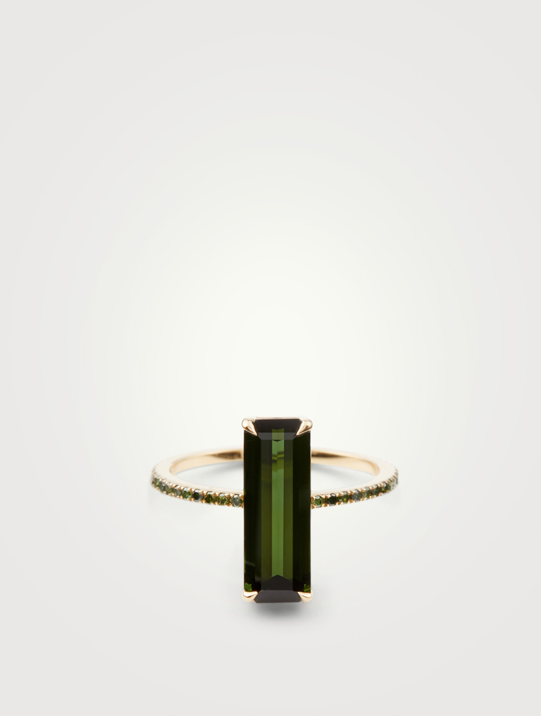 YI COLLECTION 18K Gold Ring With Green Tourmaline And Diamonds Women's Metallic