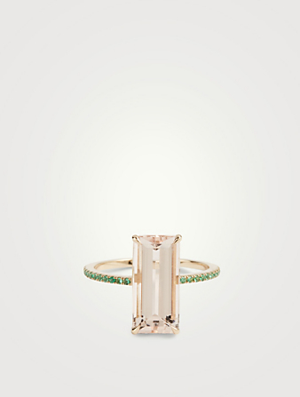 YI COLLECTION 18K Gold Ring With Emeralds And Morganite Women's Metallic