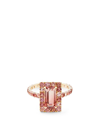 YI COLLECTION 18K Gold Bubble Gum Deco Ring With Tourmaline Women's Metallic