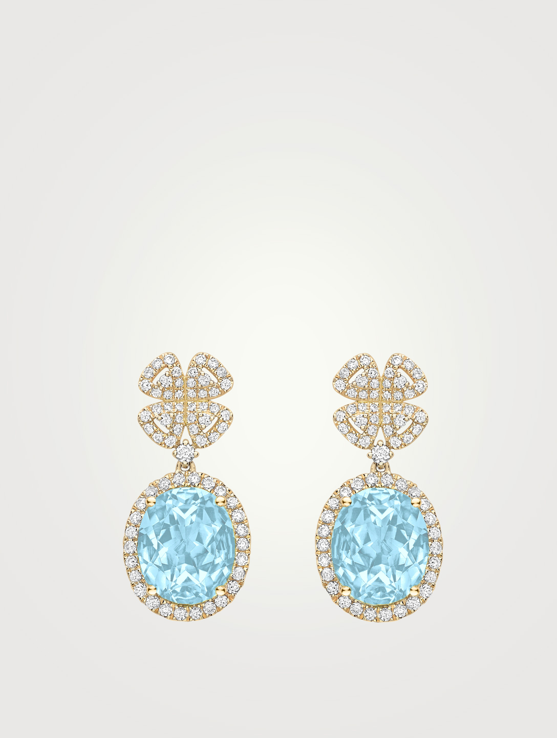 KIKI MCDONOUGH Signatures 18K Gold Clover Earrings With Diamonds And Blue Topaz Women's Metallic