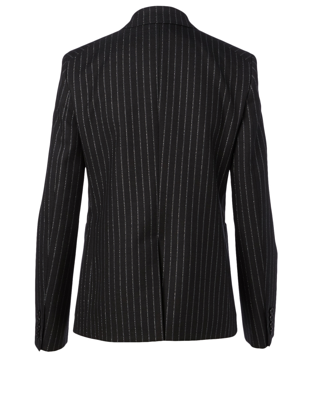 SAINT LAURENT Wool-Blend Double-Breasted Blazer In Pinstripe Print Women's Black