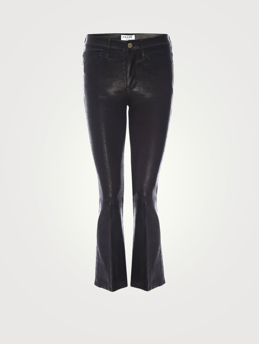 FRAME Le Crop Mini Leather Pants Women's Black