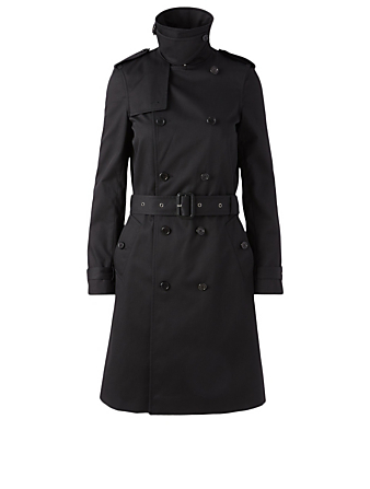 SAINT LAURENT Double-Breasted Trench Coat With Belt Women's Black