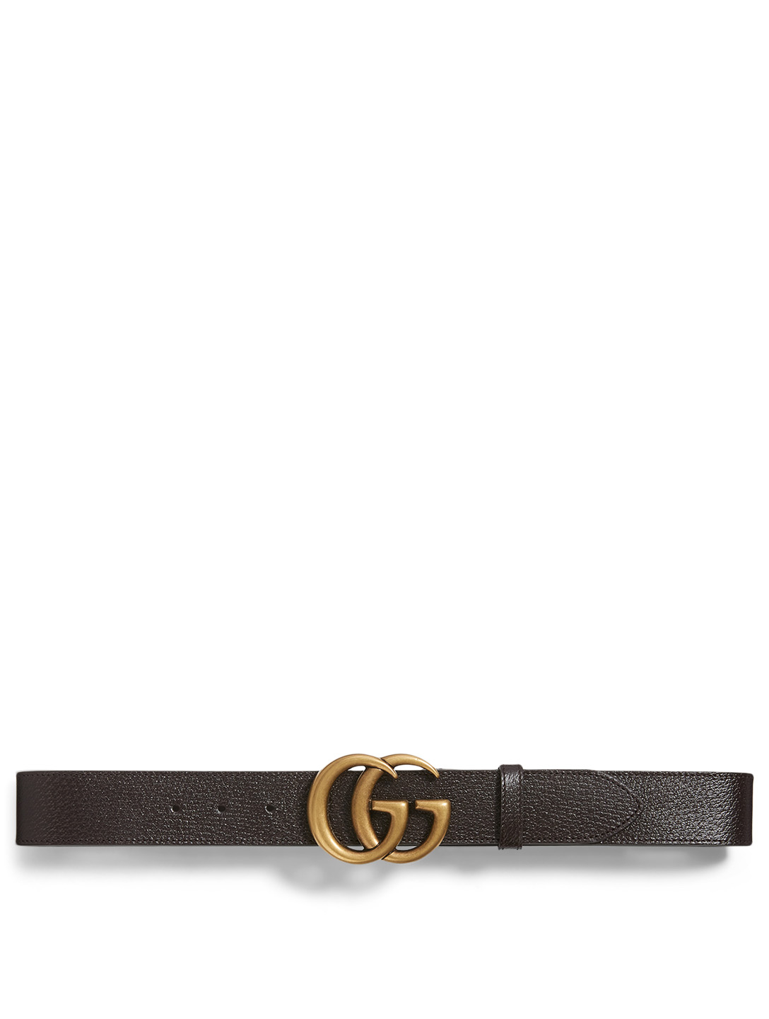 GUCCI Leather Belt With Double G Buckle Men's Brown
