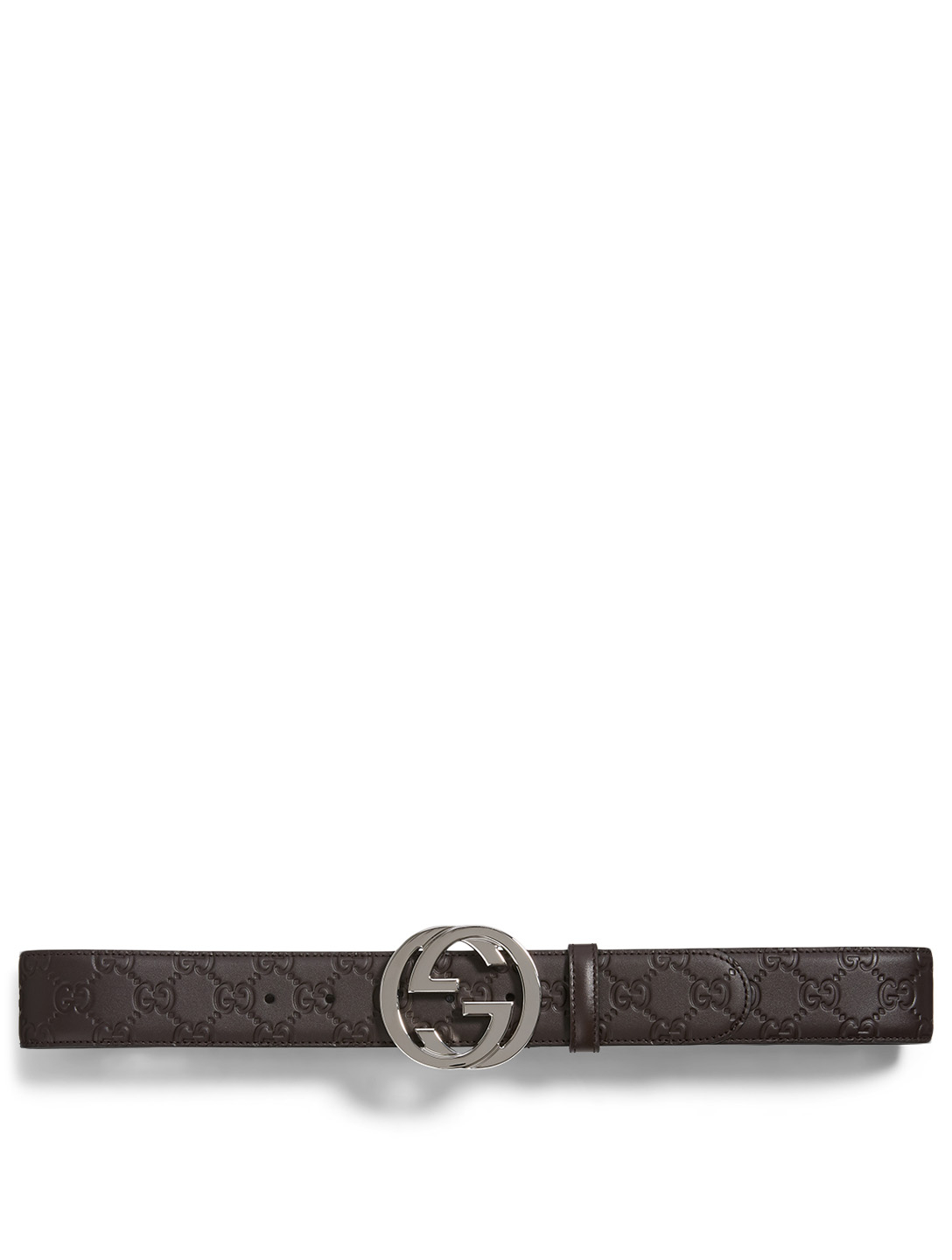 GUCCI Gucci Signature Leather Belt Men's Brown