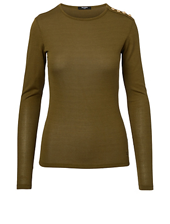 BALMAIN Long-Sleeve Top With Buttons Women's Beige