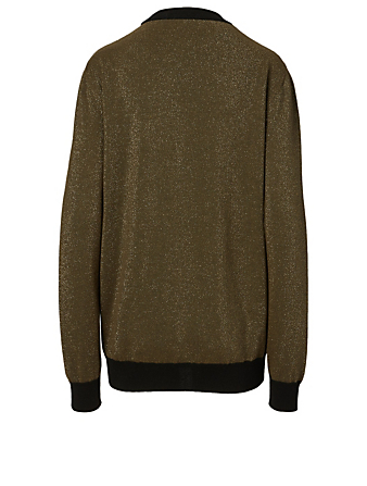 BALMAIN Wool-Blend Intarsia Logo Sweater Women's Beige