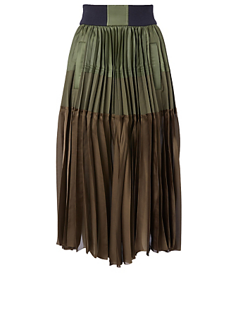 SACAI Combination Pleated Skirt Women's Green