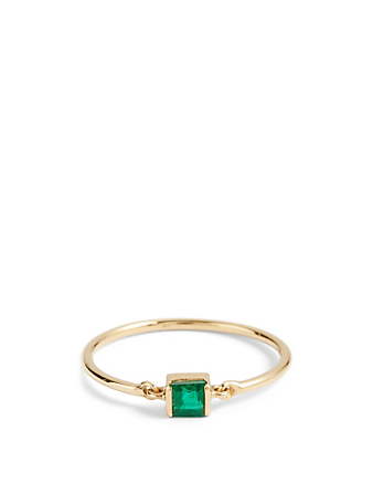 YI COLLECTION 18K Gold Petite Circle Ring With Emerald Women's Metallic