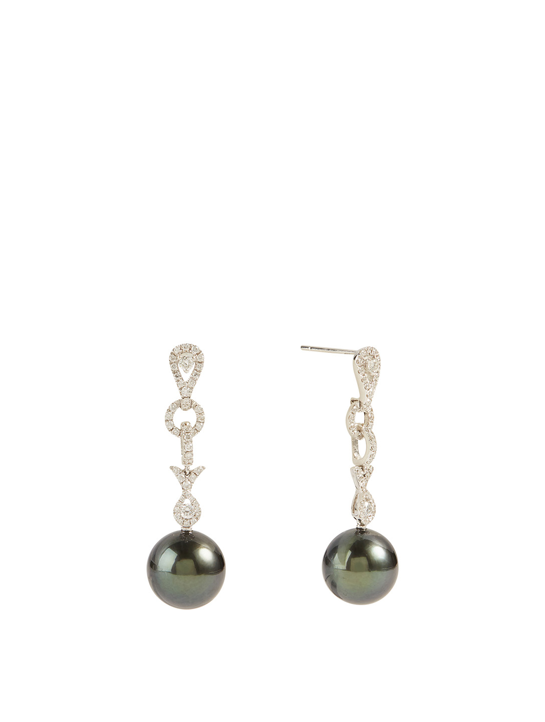 YOKO LONDON 18K White Gold Tahitian South Sea Pearl Drop Earrings With Diamonds Women's Metallic