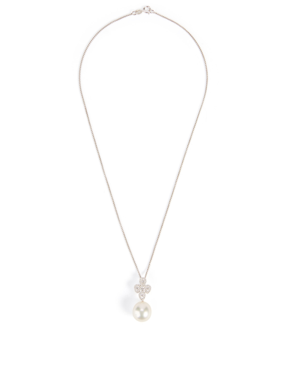 YOKO LONDON 18K White Gold Australian South Sea Pearl And Diamond Pendant Necklace Women's Metallic