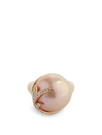 YOKO LONDON 18K Rose Gold Pearl Ring With Diamonds Women's Metallic