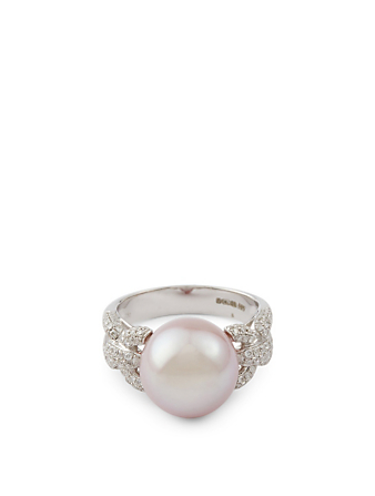 YOKO LONDON 18K White Gold Pearl Ring With Diamonds Women's Metallic