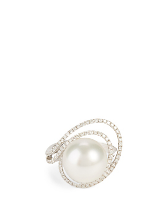 YOKO LONDON 18K White Gold Australian South Sea Pearl Ring With Diamonds Women's Metallic