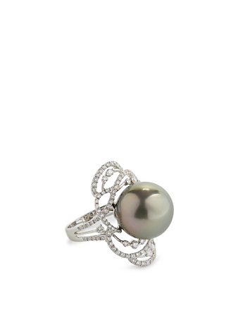 YOKO LONDON 18K White Gold Tahitian South Sea Pearl Ring With Diamonds Women's Metallic