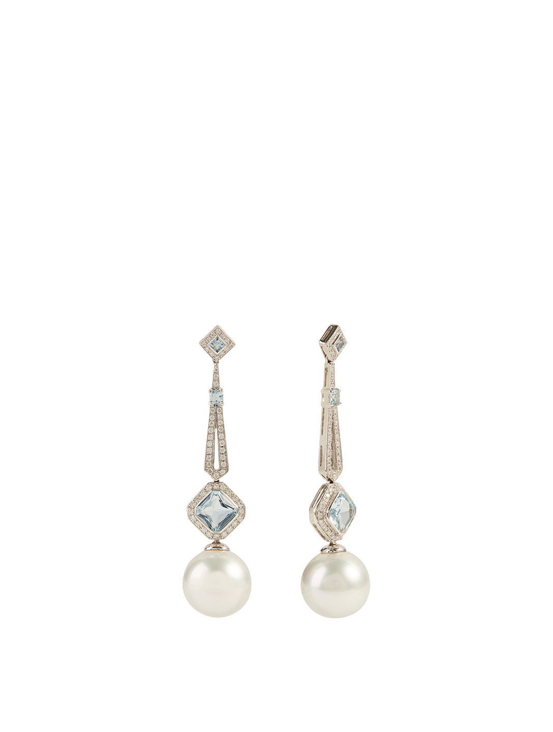 YOKO LONDON 18K White Gold Australian South Sea Pearl And Aquamarine Earrings With Diamonds Women's Metallic