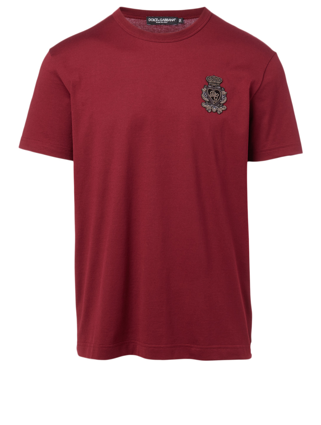 DOLCE & GABBANA Cotton T-Shirt With Heraldic Patch Men's Red