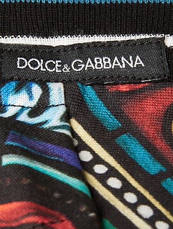 DOLCE & GABBANA Cotton T-Shirt With Stained Glass Print Men's Multi