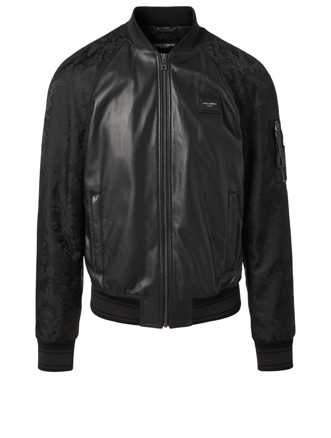 DOLCE & GABBANA Leather Jacket With Logo Plaque Men's Black