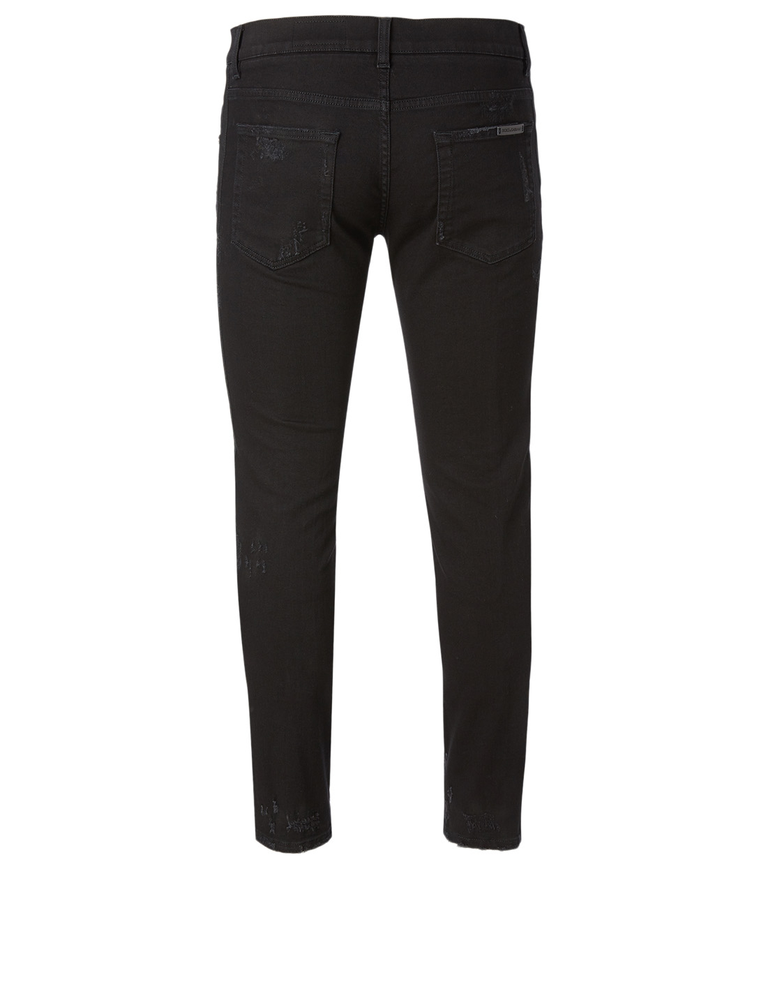 DOLCE & GABBANA Cotton Stretch Jeans With Heart Patch Men's Black