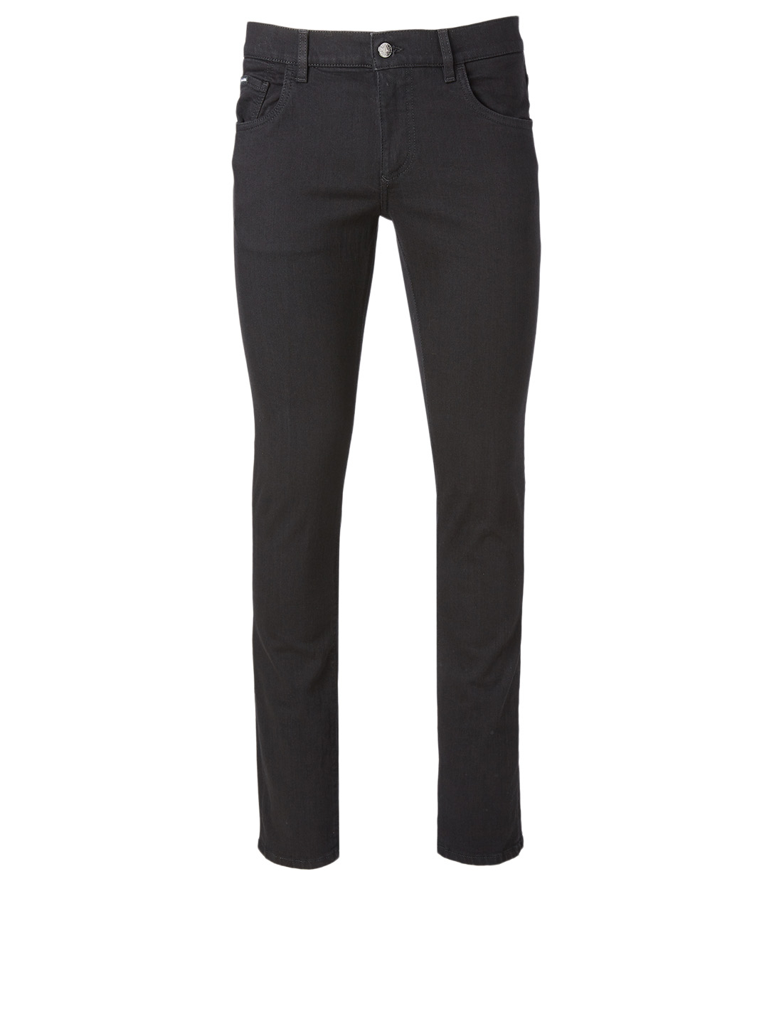 DOLCE & GABBANA Cotton Stretch Jeans With Logo Patch Men's Black