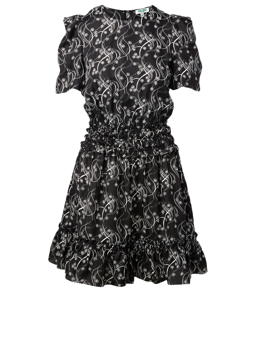 KENZO Silk-Blend Smocked Dress Women's Black