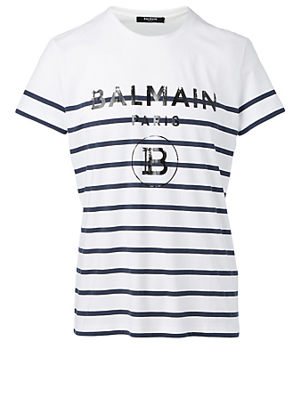 BALMAIN Cotton Logo T-Shirt In Striped Print Men's White