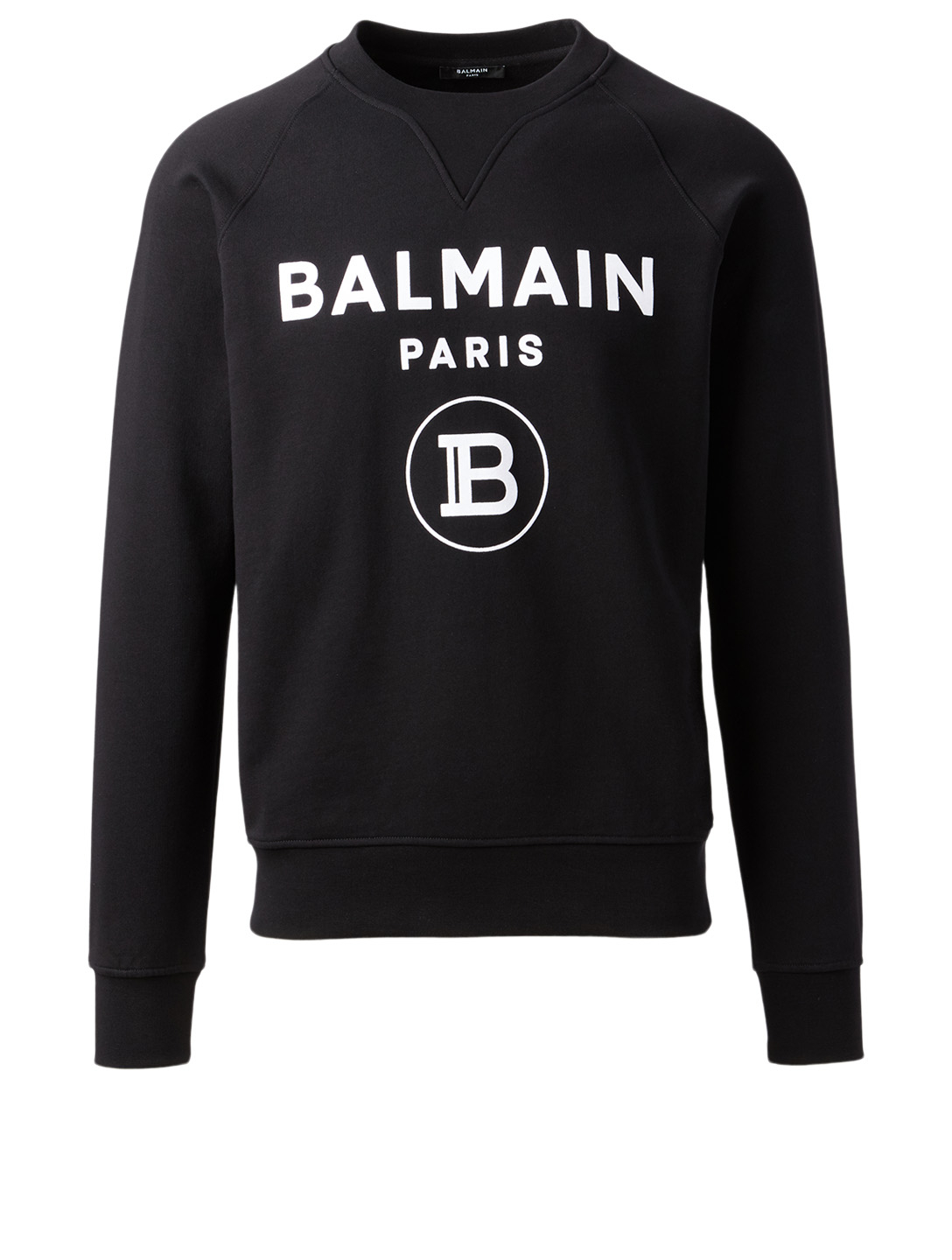 BALMAIN Cotton Flock Logo Sweatshirt Men's Black
