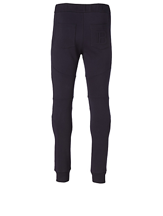 BALMAIN Cotton Sweatpants With Monogram Men's Blue