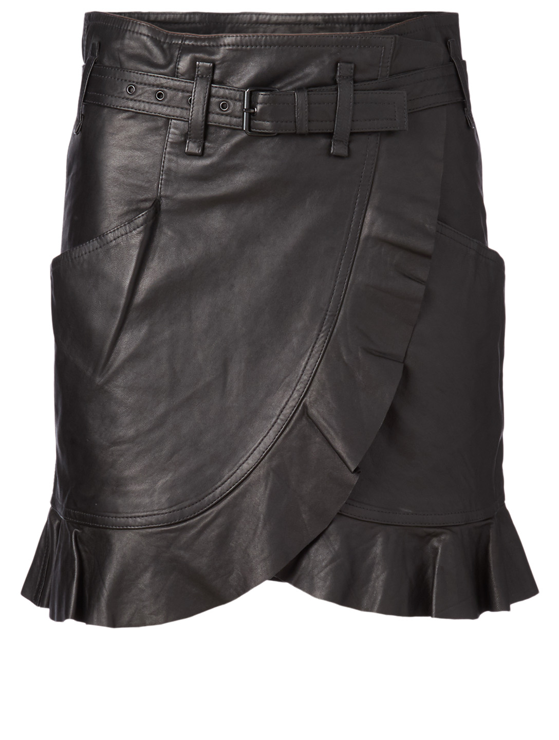 ISABEL MARANT ÉTOILE Qing Leather Skirt With Belt Women's Black