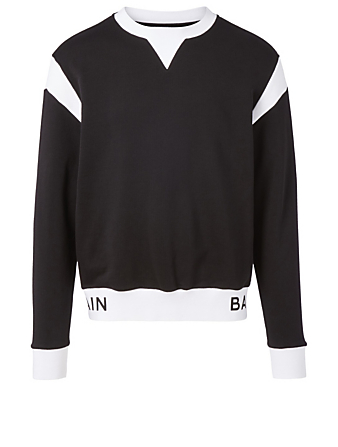 BALMAIN Cotton Sweatshirt With Logo Band Men's Black