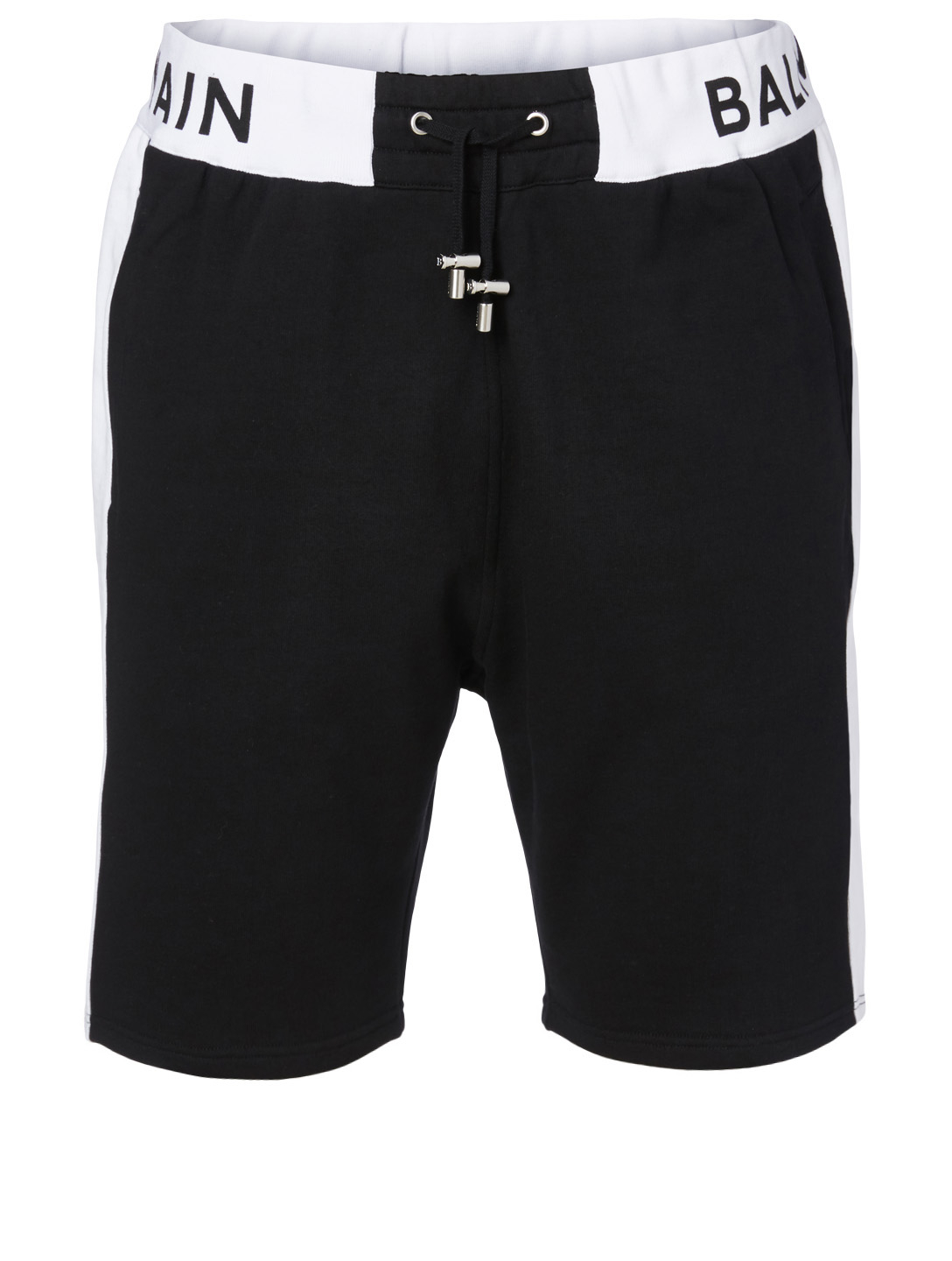 BALMAIN Cotton Shorts With Logo Men's Black