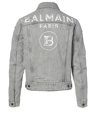 BALMAIN Cotton Denim Jacket With Back Logo Men's Black