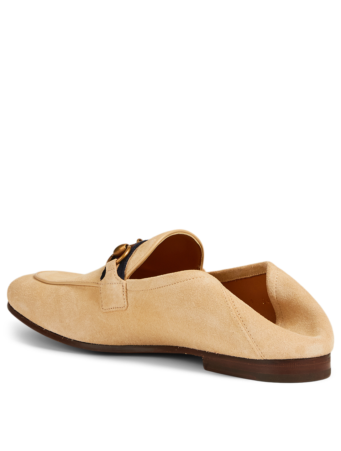 GUCCI Suede Horsebit Loafers With Web Men's Beige