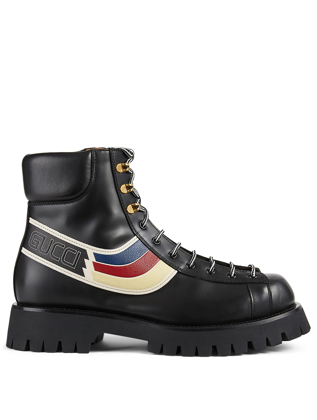 GUCCI Leather Lace-Up Ankle Boots With Sylvie Web Men's Black