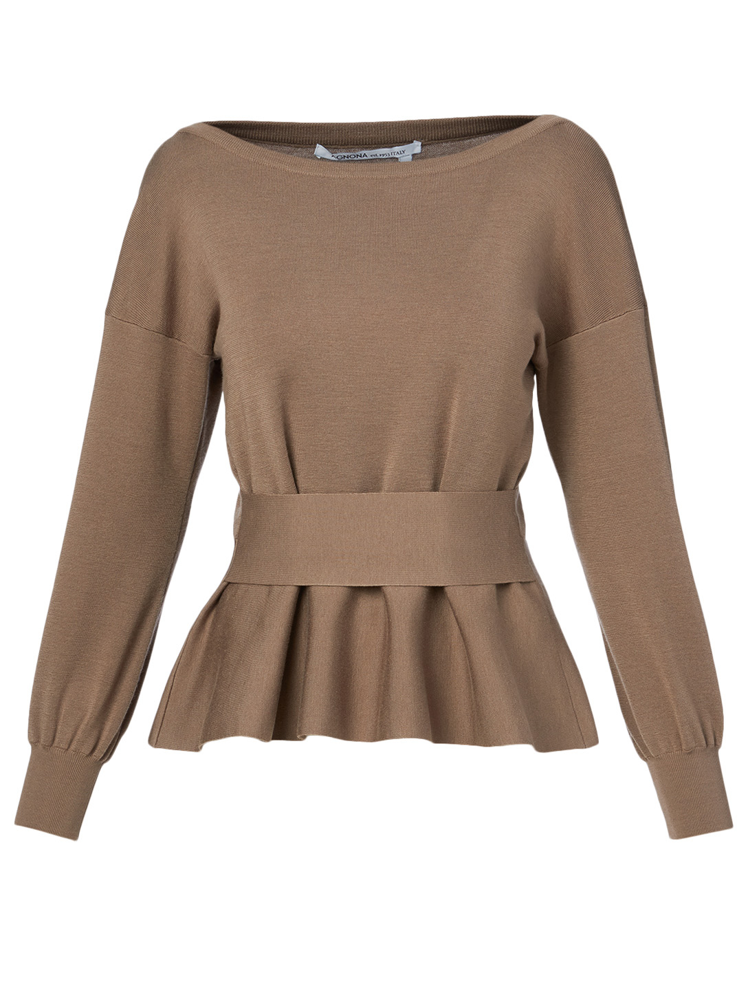 AGNONA Wool And Silk Peplum Top Women's Beige