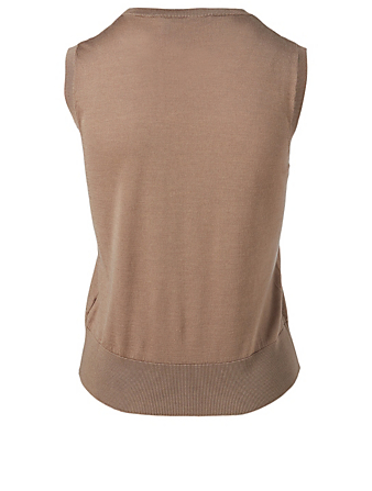 AGNONA Wool And Silk Sleeveless Top Women's Beige
