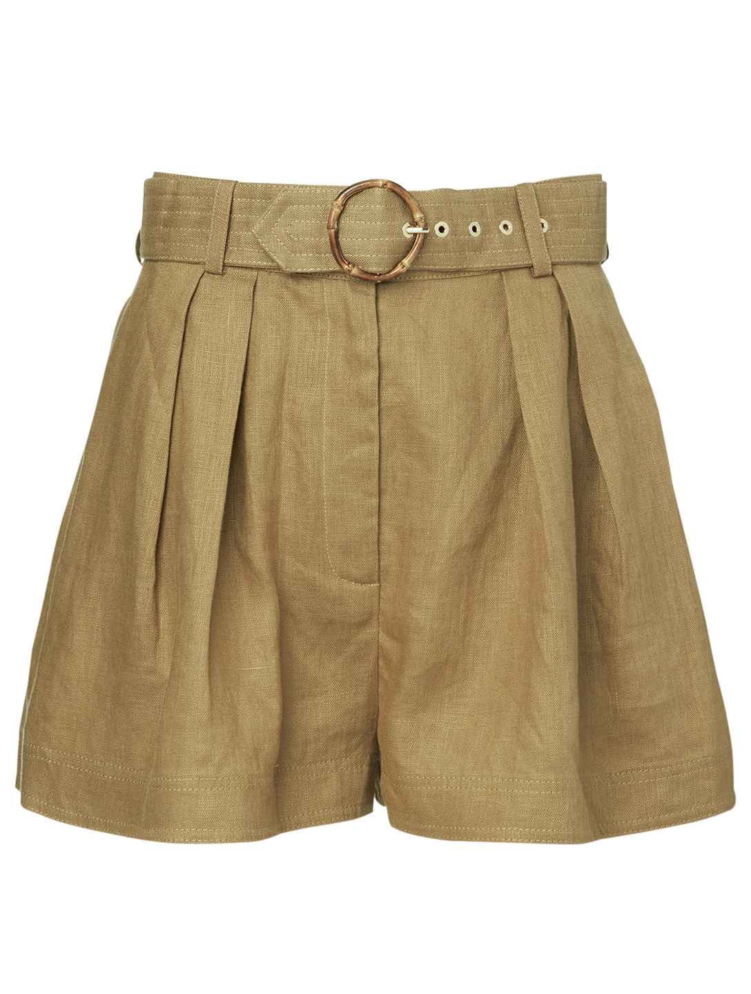ZIMMERMANN Short Super Eight en lin à taille haute Femmes Beige