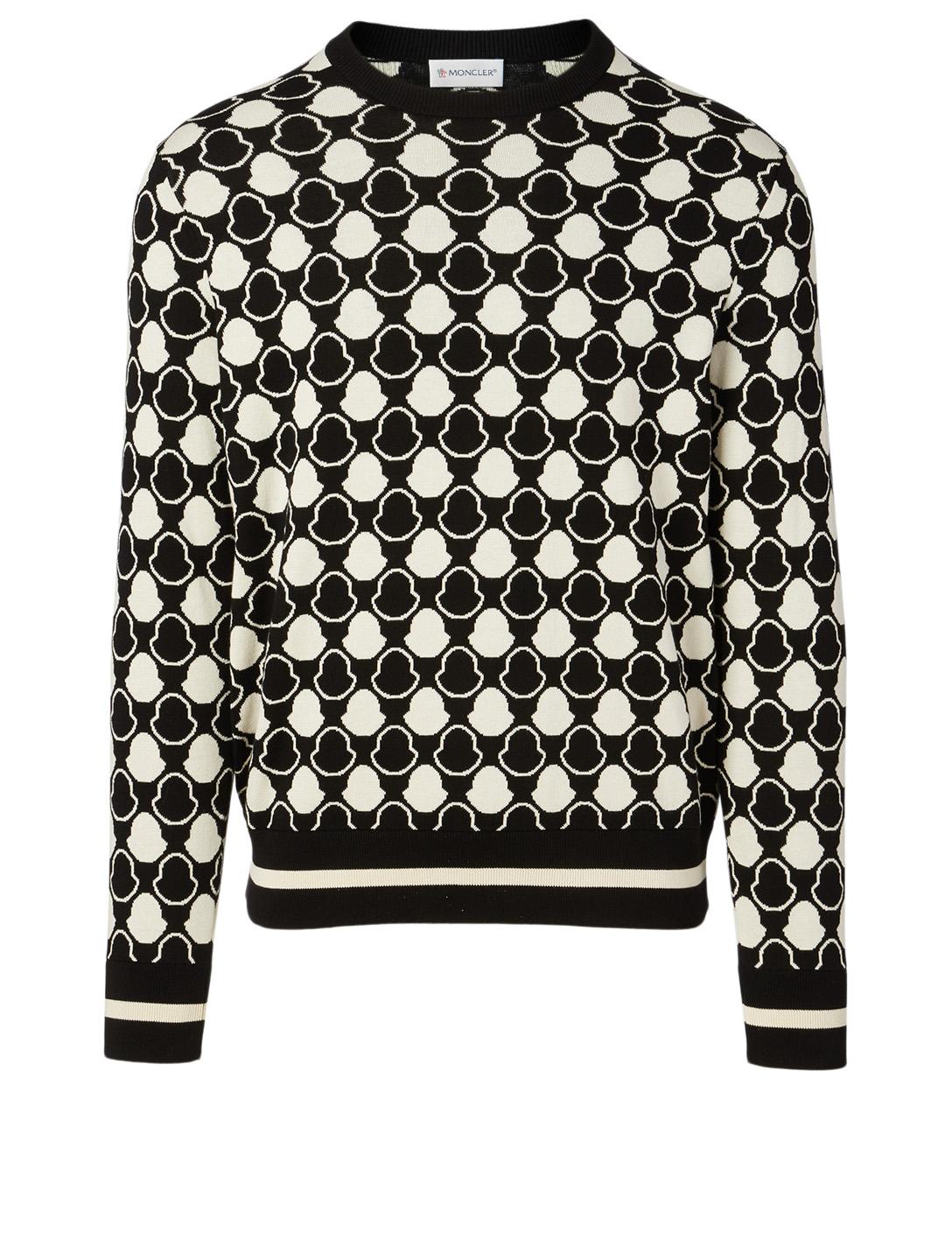 MONCLER Cotton Sweater In Logo Print Men's Black