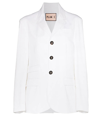PLAN C Cotton Stretch Blazer Women's White