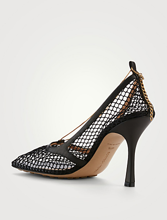 BOTTEGA VENETA Stretch Mesh And Leather Pumps With Chain Women's Black