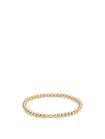 MARIA CANALE Flapper 18K Gold Single Strand Ball Chain Bracelet With Diamond Women's Metallic