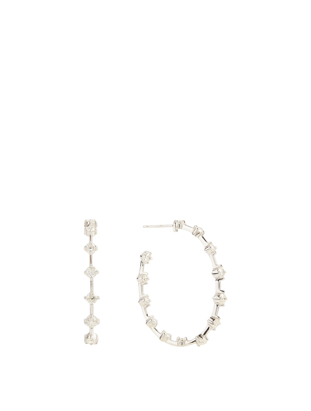 MARIA CANALE Essentials 18K White Gold Wire Hoop Earrings With Diamonds Women's Metallic