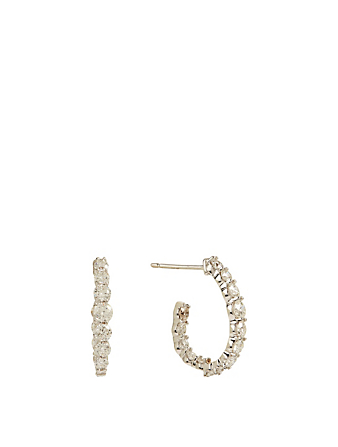 MARIA CANALE Essentials 18K White Gold Pear Hoop Earrings With Diamonds Women's Metallic