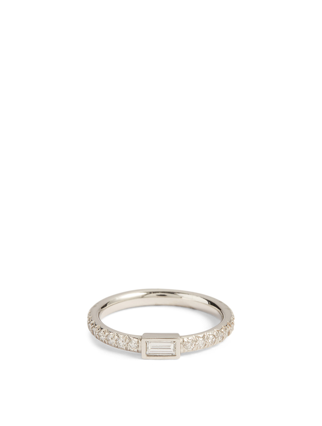 MARIA CANALE Bague à diamant baguette horizontal Essential en or blanc 18 ct ornée de diamants Femmes Métallique